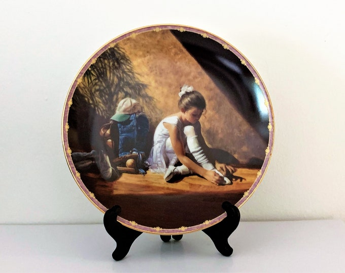 """Denim To Lace, Limited Edition 1997 Collectible Plate By Greg Olsen. No. 2807A. 8"""" Diam. Wood Stand Included, Free US Shipping"""