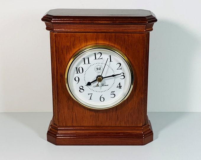 "Seth Thomas Mahogany Finish Oak Mantel Clock, Precision Quartz, Clear 3.5"" Dial, 7.5"" T. 6"" W.  Works Perfect. Taiwan. Free YS Shipping."