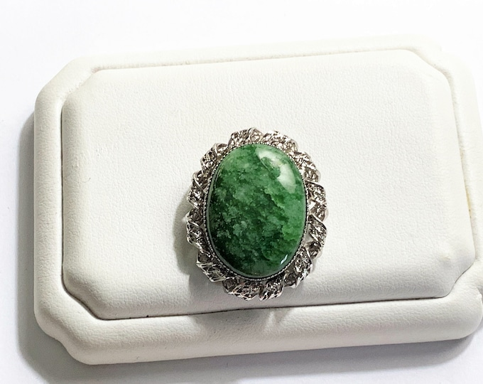 Sorrento Sterling Green Jade Brooch. Hand Crafted Bezel & Frame, Filigree Twist Pattern. 24 X 18 mm Oval Cabochon Jade. Refinished.