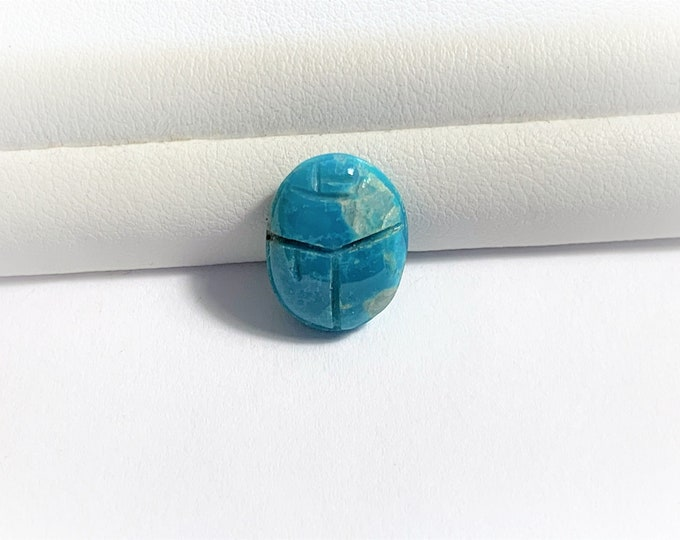 Natural Egyptian Blue Turquoise Scarab, Hand Carved Cabochon Gemstone 6.38 carats. 14 x 10.8 mm, Sinai Turquoise, Natural Inclusions