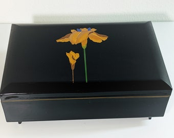 """Vintage Golden Iris """"The Shadow of Your Smile"""", Sankyo Japan Music Jewelry Box, Black Lacquer & Velvet, Mirror, Ring Section. 7.6"""" W. 5"""" L."""