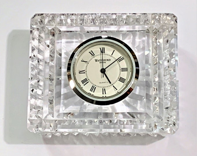 "Waterford Lismore Sparkle Small Fine Crystal Clock. Mint Condition Retired Edition, 3"" W. 2.5"" H, Crafted in Ireland. Free US Shipping."