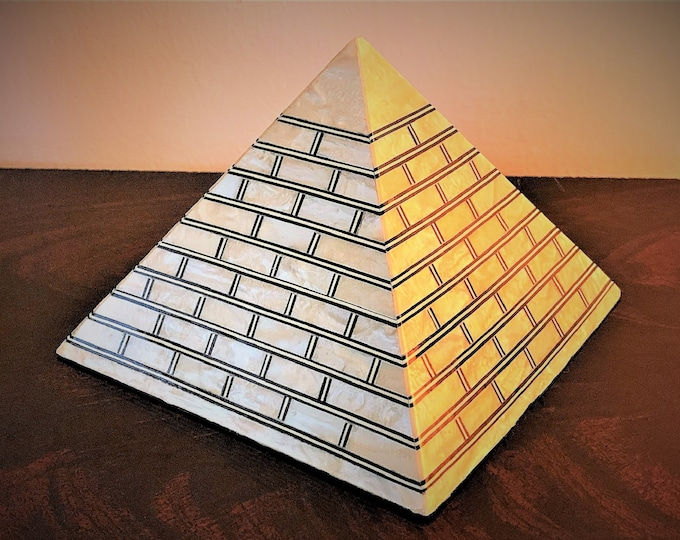 "Vintage Hand Made Egyptian Pyramid, Wood Structure Inlaid Mother Of Pearl Sheets, 6"" - 15 cm, Positive Energy"