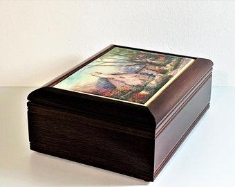 "Thomas Kinkade 'Painter of Light' Dark cherry Wood Jewelry Keepsake Box, 'Morning Glory Cottage"" Art, 7.5 X 5.5 X 3"". Mint. Free US Shipping"