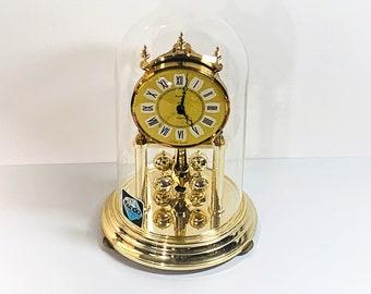 "Vintage Kundo Germany Colonial Anniversary Clock, Rotating Sphere Pendulum, Brass & Brass Finish, Precision Quartz, 9.5"" H, Free US Shipping"