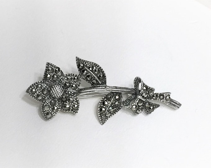 """Vintage Sterling Silver and Marcasite Stones Flower Brooch, Very Well Crafted, 1 3/4"""" Long, Simply Beautiful"""