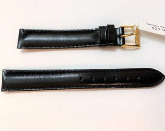 Vintage Tourbillon Italy Genuine Leather (Calfskin) Watch Band, 16 mm Lugs, Padded Stitched Water Resistant, Heavy Duty, Black