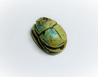 Vintage Ancient Egyptian Faience Ritual Scarab Amulet, Valley Of The Kings, West Thebes - Luxor, Upper Egypt, 18 mm. Beautiful Scarab.