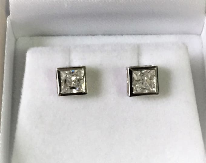 Sterling Silver CZ Studs, princess Cut, 6 mm (2 carats total), Bezel set