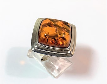 Vintage Sterling Silver Natural Baltic Cognac Amber Ring, Large Cushion Cabochon 17mm - 6.5mm Deep, Size 6 1/2, England
