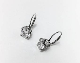Sterling Silver, pear Shape CZ 10X7 mm. 4 Carats total Weight, Lever Backs