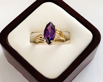 10K Yellow Gold & Deep Purple Amethyst Gemstone Ring, Marquis Cut 3.45 Carats, Deco Sides, Size 7, 2.98 Grams. Free US Shipping.