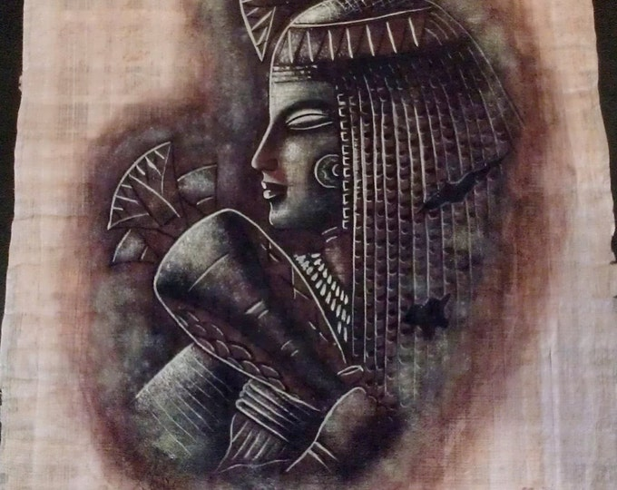 Vintage Egyptian Hand Painted Papyrus of Flower - Incense Girls, From the Walls of Dendara Temple, 17 x 13 inch