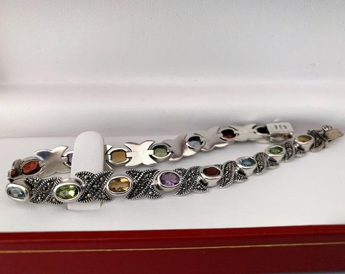 "Vintage Sterling Silver Marcasite and Multi Gemstone Bracelet, 15 Oval Faceted Genuine Gems 6X4 mm, 7.5"" L. 1/3"" W, 18 Grams. Refinished."