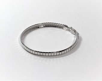 """Sterling Silver Omega Bracelet, 6 mm Wide, 12.50 Grams, 7.5"""" Long, Lobster Claw Clasp, Made in Italy, Refinished. Free US Shipping."""