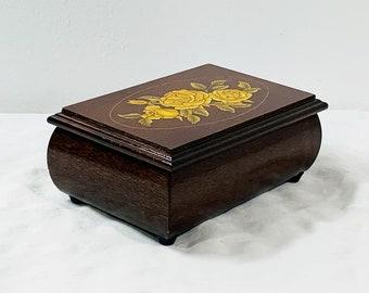 "Vintage Hand Crafted Teak Wood Music Box, Sankyo Japan, Roses on Lid, Plays 'Love Me Tender"", Mirror, Padded, 6"" W. 4"" L. Free US Shipping."