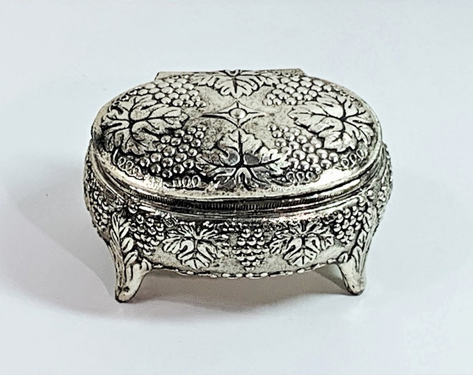 """Antique Silver Clad Small Treasure Box, Raised Grape & Leaves Patterns. 4 Feet, Red Velvet, 3.5"""" W, 2 1/4"""" H, Japan 1950's. Free US Shipping"""
