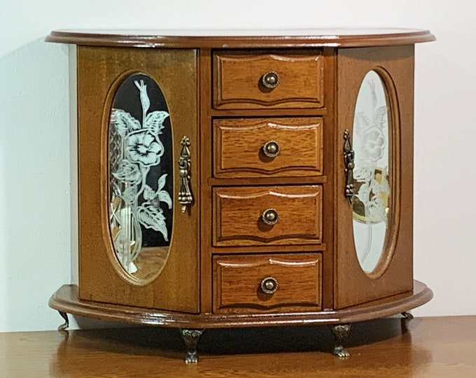 """Vintage Amazing Wood Jewelry Armoire, 2 Doors W/ Ring & Earring Trays, Etched Mirrors, Hangers, Drawers, 13.5"""" W. 10.5"""" T. Free US Shipping."""
