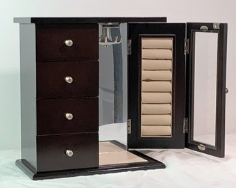 "Vintage Luxurious Jewelry Cabinet Chest Box, Hinged Double Door W/ Rings Tray, Hangers. 4 Padded Drawers, 10"" H. 9"" W. Free US Shipping."