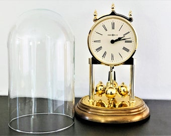 """Howard Miller Germany Marguerite 613-136 Anniversary Clock, Brass & Brass Finish, Refurbished, 9"""" Tall, Good Condition. Free US Shipping."""