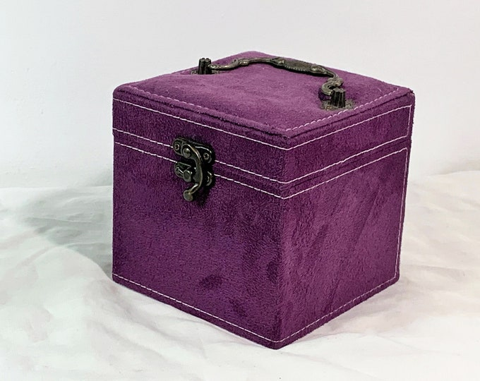 "Stylish Travel Jewelry Case W/Metal Handle & Clasp Lock, 3 Padded Trays, Mirror. Purple Velvetine, 5"" Square. Free US Shipping."