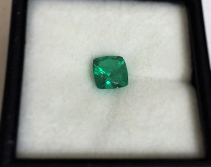 Chatham Lab Grown Green Emerald, High Clarity and Color, Cushion cut 6.20 mm, .90 carat