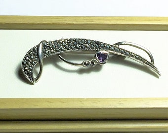 "Vintage Sterling Silver Marcasite Purple Heart Brooch, Very well Crafted, 2"" Long, Simply Beautiful and Unique"