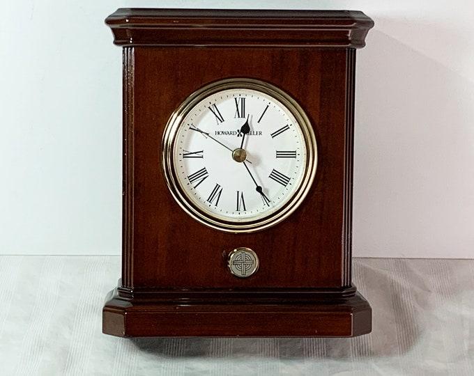 "Howard Miller Windsor Fine Wood Mahogany Piano Finish Mantel Quartz Clock, Restored Refinished & Serviced, 7.5"" T. 6"" W. Free US Shipping."