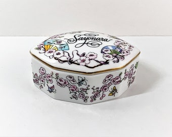 """Franklin Porcelain, The World Most Romantic Love Songs Music Box """"SAYONARA"""", Hand Crafted in Japan, 1984. 3"""" W. 2"""" L. Top Grade Condition."""