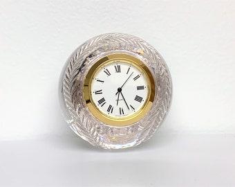 "Unique Baseball Shape 24% Lead Crystal Clock, Japan Quartz Clock, 1.5"" Dial, 8"" Ball Diameter, Works Perfectly, Free US Shipping."