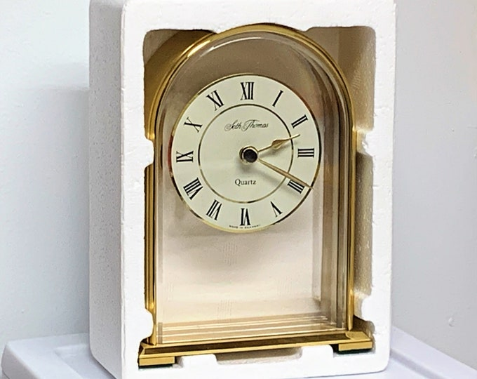 """Seth Thomas Camina Solid Brass Hanging Dial West Germany Mantle Clock, Mint with Warranty, Model 0230-001, 5.5"""" T. 4"""" W. Free US Shipping"""