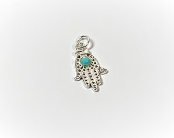 Sterling Silver Hamsa-Khamsa, Filigree with Blue Turquoise, Defense Against the Evil Eye, 22 X 11.5 mm. A Universal Sign of Protection,