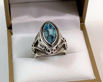 Sterling Silver Blue Topaz Ring, Marquis Cut Natural Gemstone 16 X 8 mm - 6.10 Carats, Large Ring. Open and 3D Scroll Sides, Size 7, Vintage