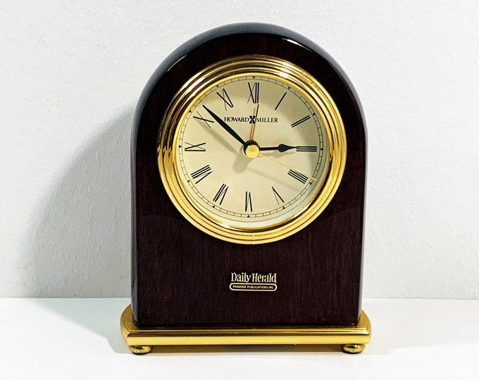 """Howard Miller - Daily Herald Mahogany Gloss & Brass Alarm Clock 613-487, 5"""" T - 4""""  W, Mint Condition - Tested. FREE US SHIPPING"""