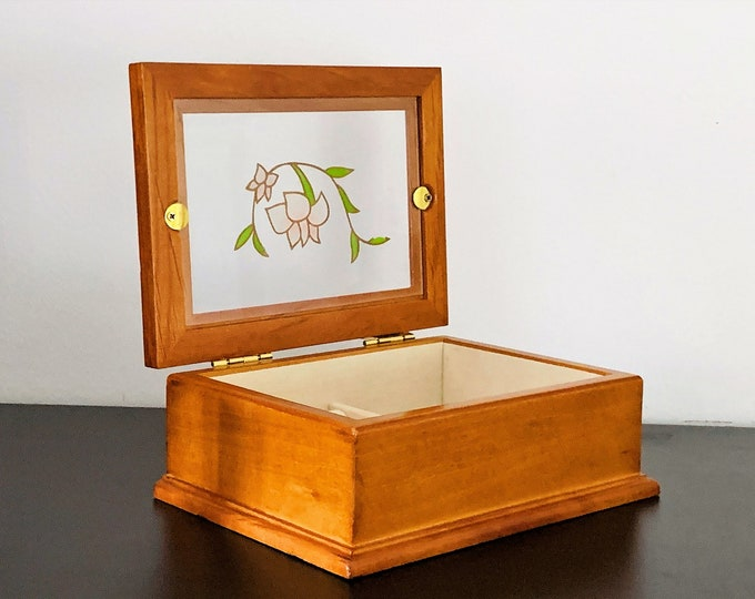 "Golden Oak Jewelry Box, Hinged Lid W/ Stained Glass Window, Carved Colored Floral Pattern , Padded Sections, 7"" W. 5.5"" L. Free US Shipping"