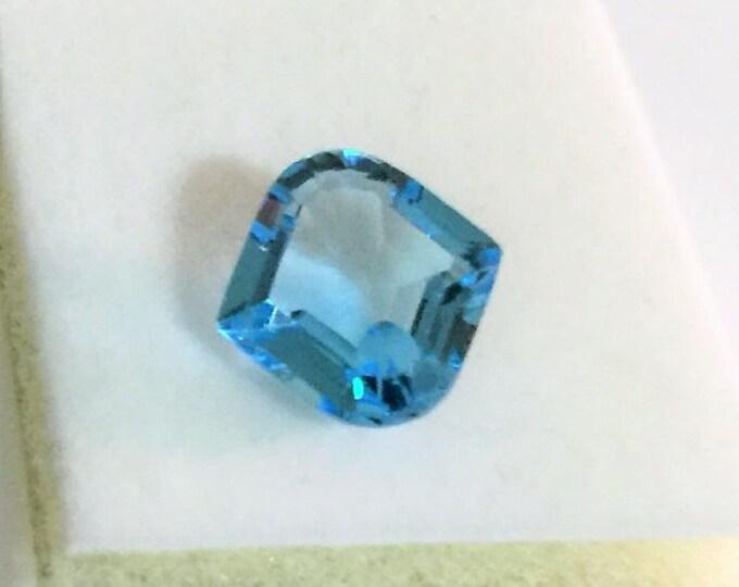 Natural Fine Sky Blue Topaz, Unique Custom Cut 12X12 mm, 5.08 carats, Exotic Gem, Very Brilliant Stone
