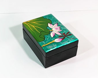 """Venetian Hand Painted Small Jewelry - Trinket Box, Fancy Red Lining, Mirror, High Gloss Black Finish, 4.25"""" W. 3"""" L. 2"""" H. Free US Shipping."""