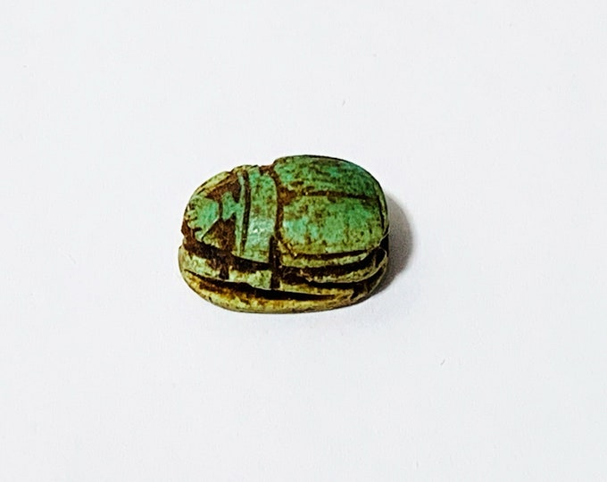 Vintage Ancient Egyptian Faience Ritual Scarab Amulet, Valley of The Kings, Luxor - Upper Egypt, 16 mm, Great Shape & Color