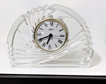 """Vintage Mikasa 'Seasons Holly' Fine Crystal Clock, Large Size 7 1/2"""" Wide, 5 1/2"""" High, Mint Condition - Works Perfectly, Free US Shipping."""