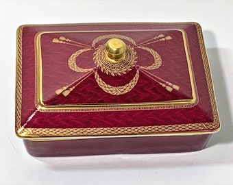 """Neiman Marcus Porcelain Trinket or Cards Box, Collectible Exclusive Edition 1970's, Rhodonite & Gold Colors, 6"""" W. 4.5"""" L. Free US Shipping."""
