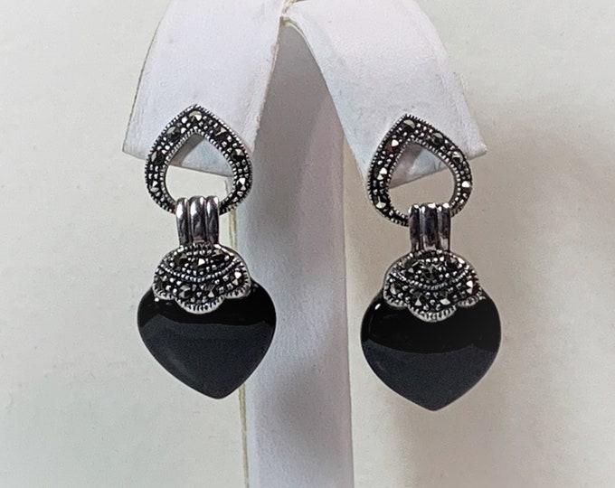 """Sterling Silver Black Onyx Heart Marcasite Dangle Earrings, Beautiful Cabochon Hearts, 1 3/8"""" Long, True Elegance."""