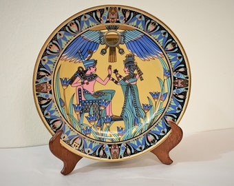 """Vintage Egyptian Fine Porcelain Plate with Wood Stand, King Tut's Treasure Scene, 10"""" Diameter, Colorful Mint Condition, Free Shipping"""