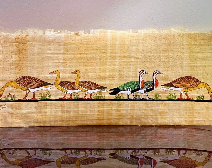 Vintage Hand Painted Egyptian Papyrus, The Famous Meidum Geese, 17 1/2  x 7 inch.  42 x 17 cm