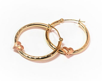 10K Yellow & Rose Gold Hoop Earrings, Diamond Cut and Raised Hearts, 24 mm Diameter, 2 mm Gauge (Thickness), Sparkly. Free US Shipping.