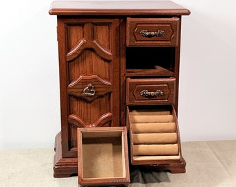 """Vintage Large Unique Carved Fine Wood Jewelry Armoire, Slide Down Ring Section, 3 Drawers, Mirror, Hangers, 13"""" H. 10"""" W. Free US Shipping."""