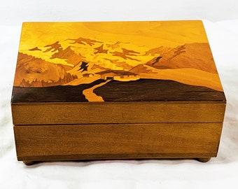Collectible Reuge Sainte-Croix Swiss Classic 28 Note Music Box, 'Vu Luzern Uf Weggis Zu', Alps Scene, Top Grade Condition. Switzerland Made
