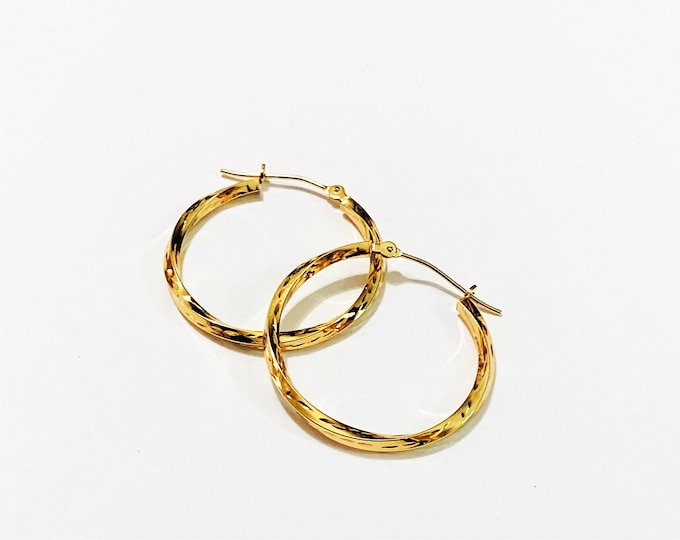 "10K Yellow Gold Hoops, Diamond Cut Twisted 2mm Gauge, 1"" Diameter. Simple and Sparkly. 1.10 Grams. Free US Shipping."