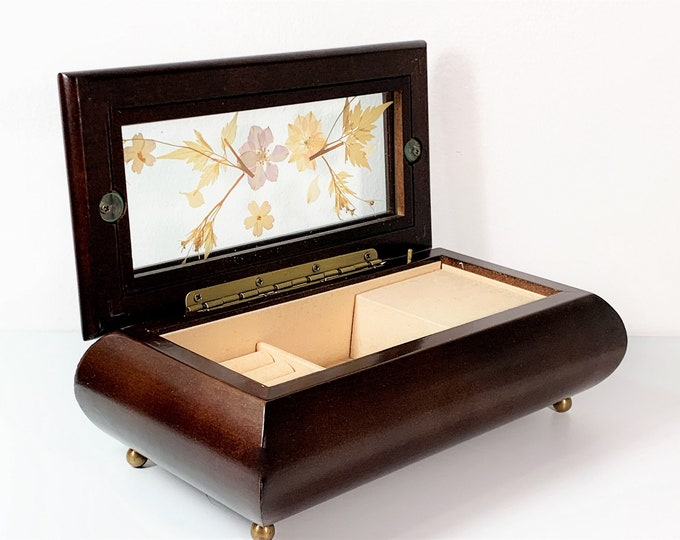 "The Bombay Company Musical Jewelry Box. Mahogany Wood, Glass Window W/ Pressed Dried Flowers, Plays  ""Love Story', 8.5"" W. Free US Shipping."