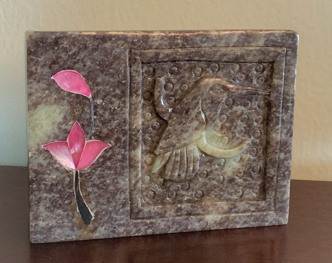 "Vintage Italian Hand Carved Marble - Granite Trinket-Jewelry Small Box, Carved, Humming Bird and Inlaid Flower on the Lid, 4 1/4"" X 3 1/4"""