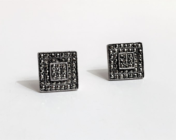 "Vintage Sterling Silver Marcasite Studs, Square Shape Studed with Marcasite stone, 1/2"" - 13 mm"